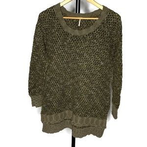 Free People Knit Green Scoop Neck Sweater